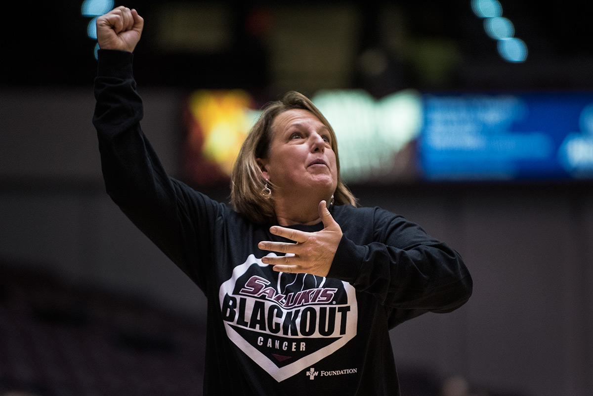 Coach Cindy Stein signals to her players during SIU's 77-54 win against Wichita State on Friday, Jan. 13, 2017, at SIU Arena.