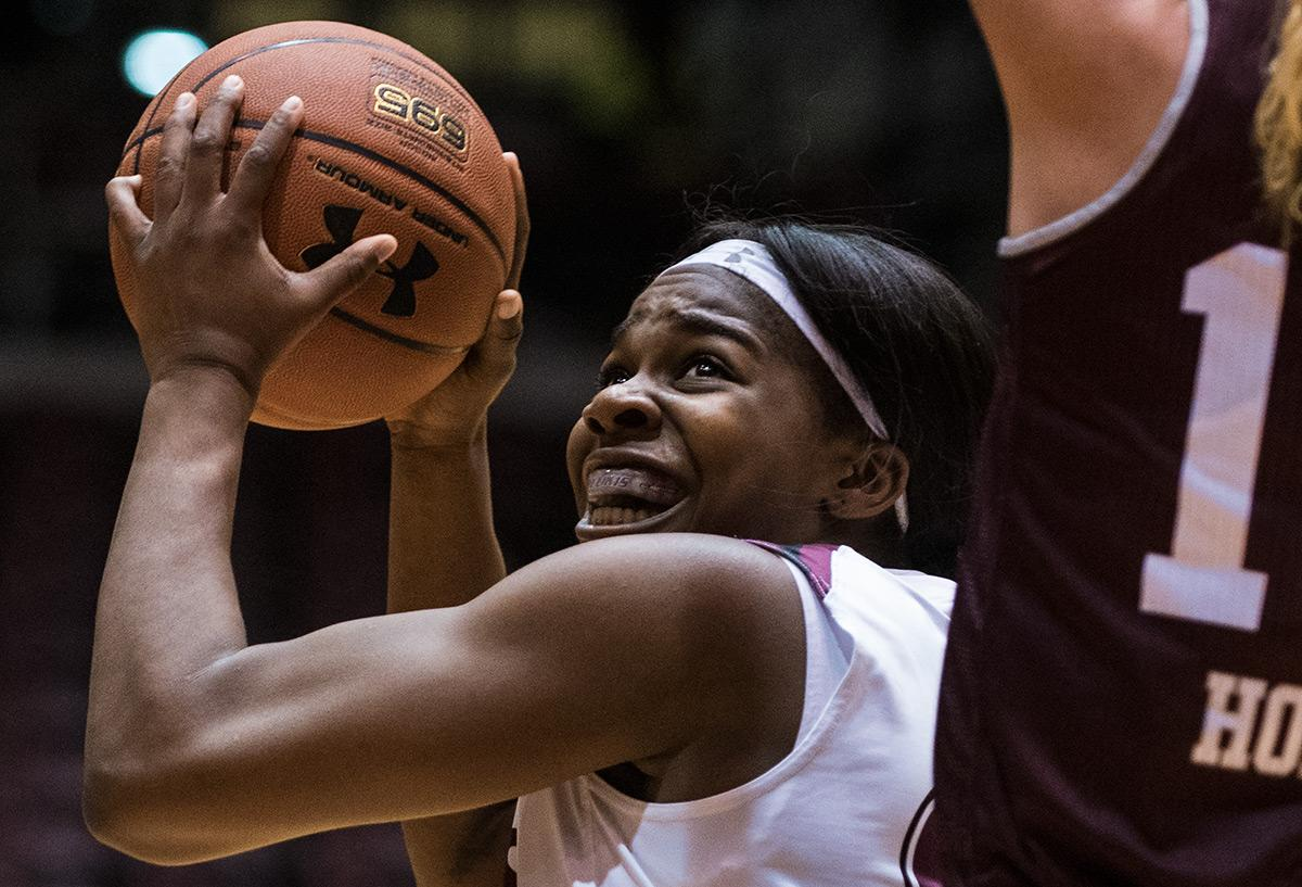 Senior forward Kim Nebo looks to put up a shot during SIU's 78-60 loss to the Bears on Sunday, Jan. 15, 2017, at SIU Arena. Nebo scored four points in the game. (Jacob Wiegand | @jawiegandphoto)