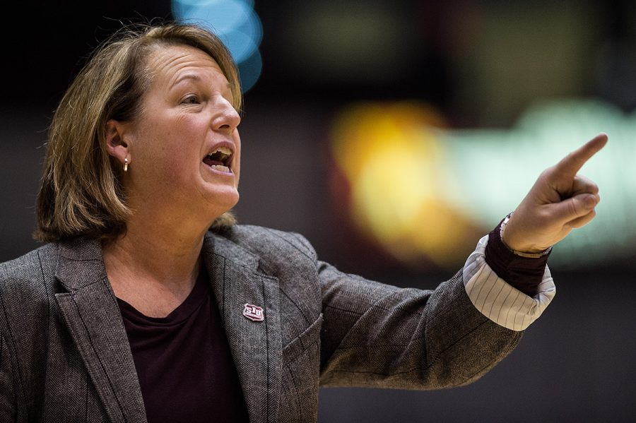 Coach Cindy Stein directs her players during SIU's 78-60 loss to the Bears on Sunday, Jan. 15, 2017, at SIU Arena. (Jacob Wiegand | @jawiegandphoto)