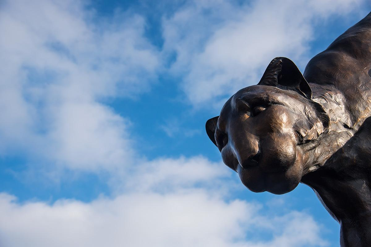 SIU-Edwardsville's cougar statue. (Jacob Wiegand | @jawiegandphoto)