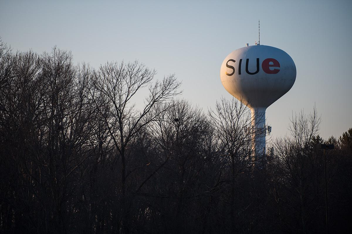 SIU-Edwardsville's water tower can be seen Jan. 27, 2017. (Jacob Wiegand | @jawiegandphoto)