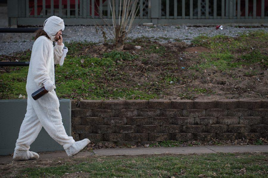 Sean OBrien, of Elmwood Park, speaks on the phone while dressed as a polar bear Saturday, Jan. 28, 2017, on West Cherry Street in Carbondale. The Polar Bear 2017 Facebook event had 1,500 marked saying they would be in attendance. (Jacob Wiegand | @jawiegandphoto)