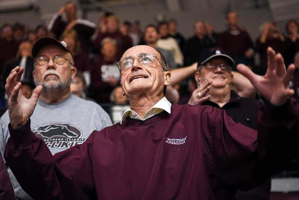 Long time Saluki basketball and football fan Tilden Parks, of Marion, reacts in exasperation to a point lost to Missouri State on Saturday, Jan. 28, 2017, during the Salukis' 85-84 win against the Bears at SIU Arena. The game marked Parks' 533rd consecutive SIU men's home basketball game. (Morgan Timms | @Morgan_Timms)