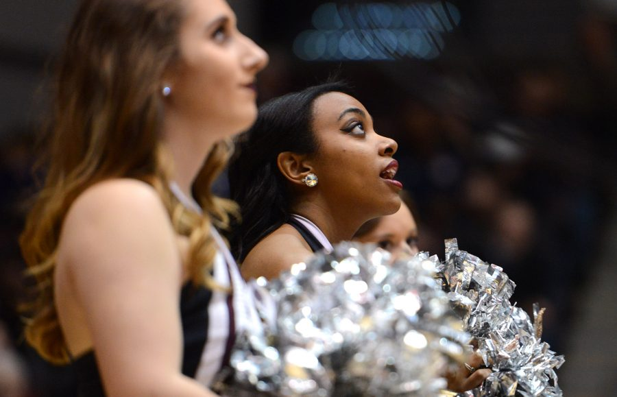 Saluki shaker Shae Robinson looks at the jumbotron during SIU's 85-84 overtime win against the Missouri State Bears on Saturday, Jan. 28, 2017, at SIU Arena. (Luke Nozicka | @lukenozicka)