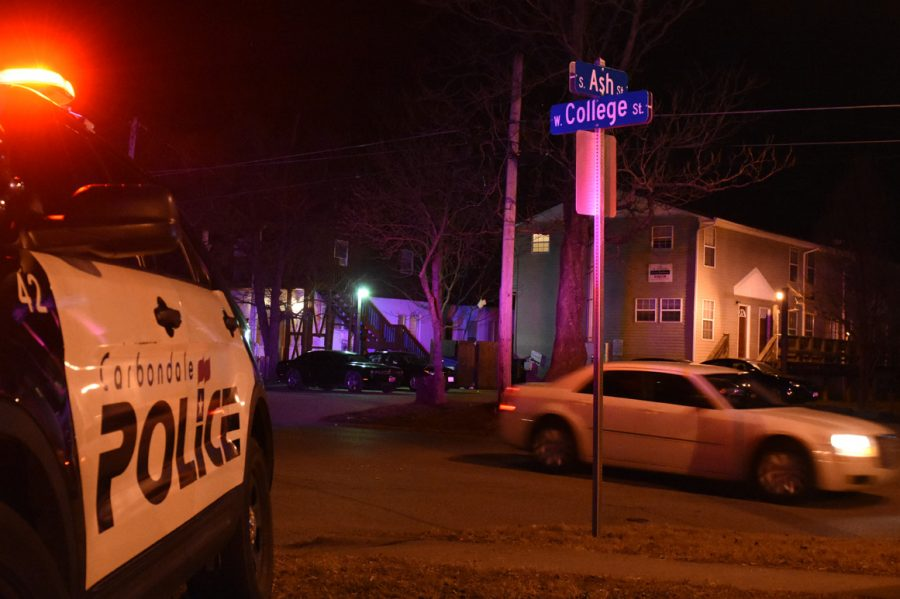 Police respond to the 500 block of South Ash Street for reports of a shooting. About 3:17 a.m. Saturday, Jan. 28, one person was found with a non-life-threatening gunshot wound and taken to Memorial Hospital of Carbondale for treatment, police said. (Bill Lukitsch | @lukitsbill)