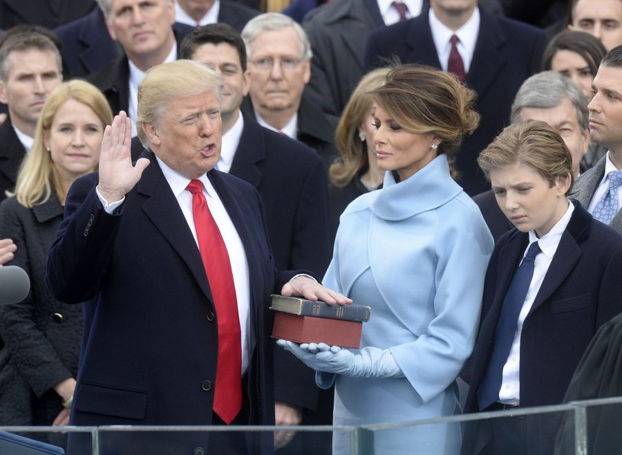 Chief Justice of the United States John G. Roberts, Jr. administers the oath of office to President Donald Trump during the 58th Presidential Inauguration on Jan. 20, 2017 in Washington, D.C. (Olivier Douliery | TNS)