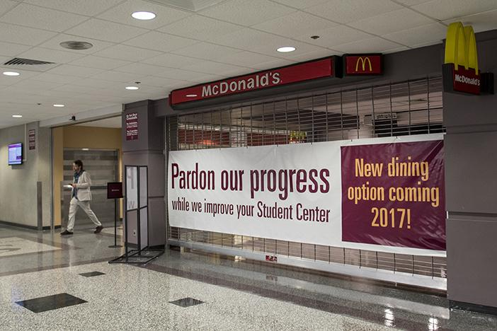 McDonald's remains closed Friday, Jan. 13, 2017, in the  SIU Student Center. (Branda Mitchell | @branda_mitchell)