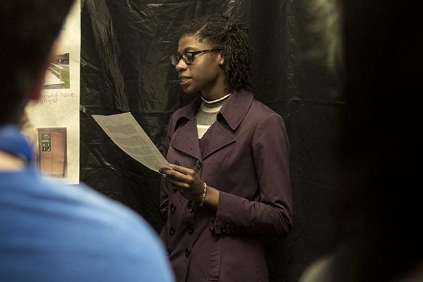 """Jailel Barr, a junior from Ullin studying journalism, speaks about physical disabilities during a tour of the """"Tunnel of Oppression"""" on Monday, Feb. 27, 2017, in Grinnell Hall. The annual event highlights and educates visitors about various issues faced by minorities. (Branda Mitchell 