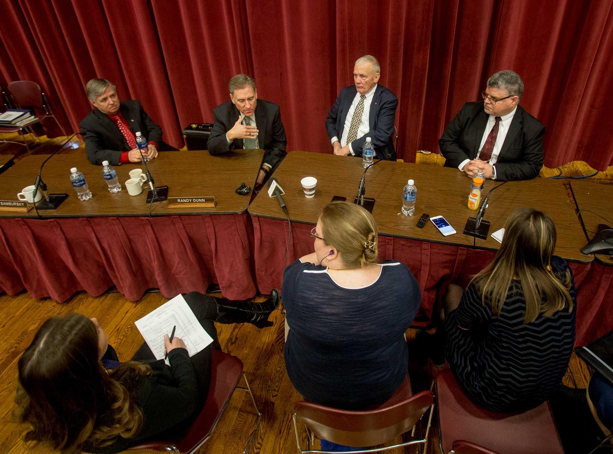 SIU administrators speak to press at the SIU Board of Trustees meeting Thursday, Feb. 9, 2017, in the Meridian Ballroom at SIUE. (Brian Munoz | @BrianMMunoz)