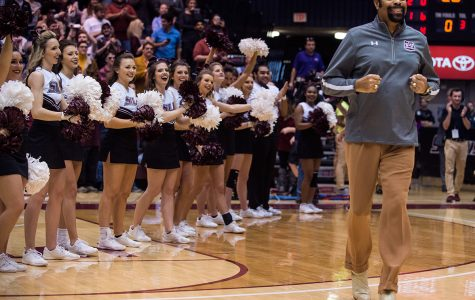 Walt Frazier is announced during halftime of the Salukis' 75-70 loss to Evansville on Saturday, Feb. 11, 2017, at SIU Arena. Frazier attended the game to celebrate the 50th anniversary of the Salukis' 1967 National Invitation Tournament championship.