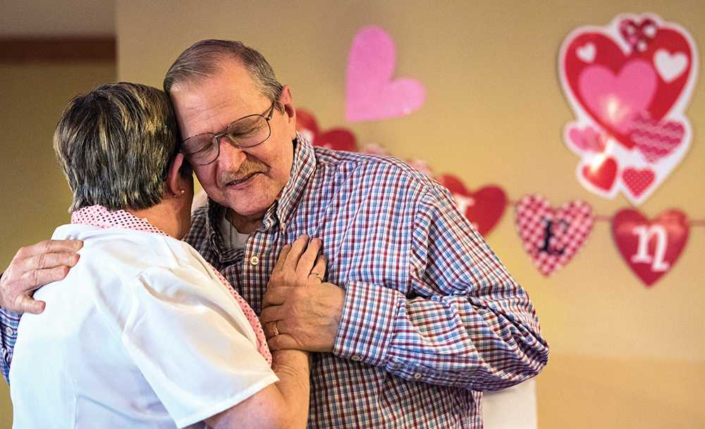 Will and Donna Major share a dance Tuesday, Feb. 14, 2017, during Prairie Living's Valentine's Day Dance at Prairie Living at Chautauqua in Carbondale. The couple met and married in the assisted living community and celebrate their third anniversary in October.