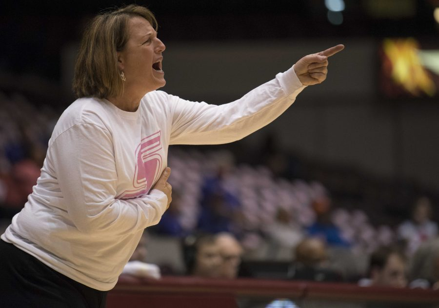 Coach Cindy Stein yells from the sideline during the Salukis' 74-61 loss to the Evansville Purple Aces on Friday, Feb. 17, 2017, at SIU Arena. (Bill Lukitsch | @lukitsbill)