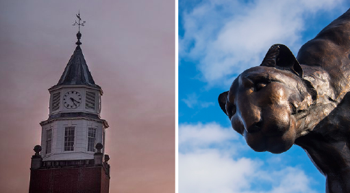 Left: Pulliam Hall can be seen Jan. 30, 2017, on the university's Carbondale campus. Right: The cougar statue can be seen Jan. 27, 2017, on the university's Edwardsville campus. (Photos by Jacob Wiegand | @jawiegandphoto)