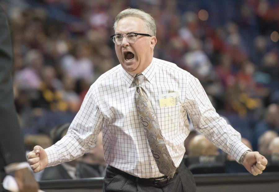 Coach Barry Hinson yells toward his bench Friday, March 3, 2017, during the Salukis' 55-50 win against Loyola in the Missouri Valley Conference men's basketball tournament quarterfinals at the Scottrade Center in St. Louis. (Sean Carley | @SeanMCarley)