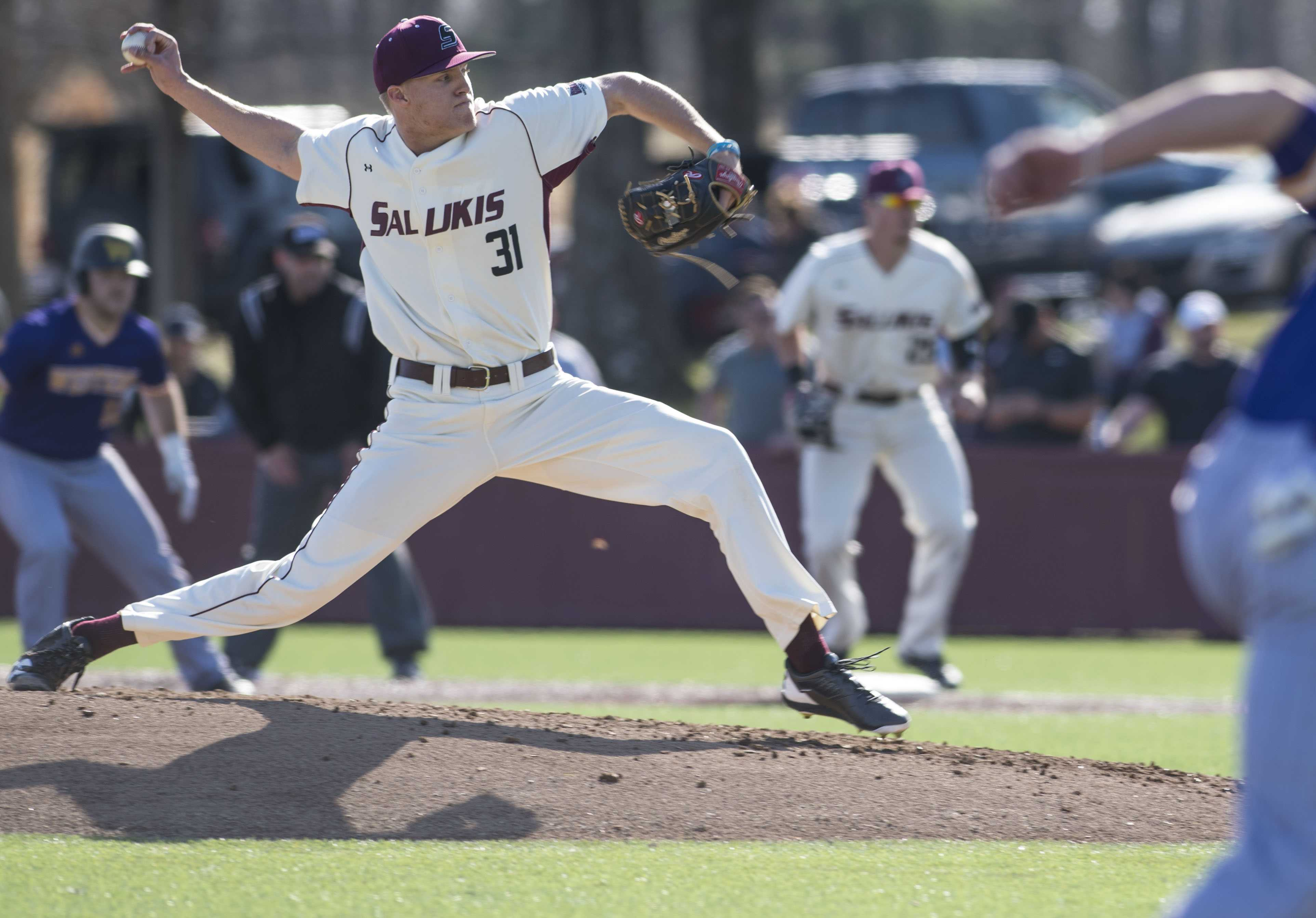 Saluki pitcher Michael Baird throws from the mound Saturday, March 4, 2017, during a game against Western Illinois University Leathernecks in Itchy Jones Stadium. The Salukis beat the Leathernecks 12-2. (Bill Lukitsch | @lukitsbill)