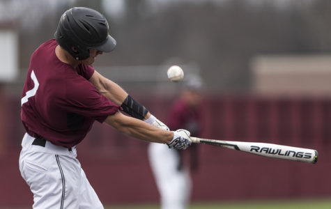 Junior infielder Connor Kopach swings and misses the ball during the bottom of the second inning Sunday, March 5, 2017, at Itchy Jones Stadium. The Salukis beat Western Illinois 3-2. (Branda Mitchell | @branda_mitchell)