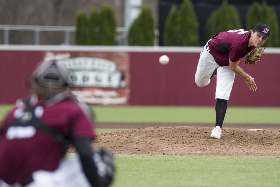 Freshman pitcher Alex Gutermuth throws the ball Sunday, March 5, 2017, at Itchy Jones Stadium. SIU defeated Western Illinois 3-2. (Branda Mitchell | @branda_mitchell)