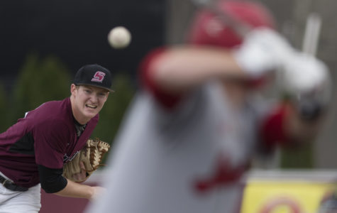 Saluki freshman pitcher Justin Yeager throws from the mound Friday, March 24, 2017, during the first of a three-game series between SIU and Jacksonville State at Itchy Jones Stadium. The Gamecocks beat the Salukis 8-6 in nine innings.