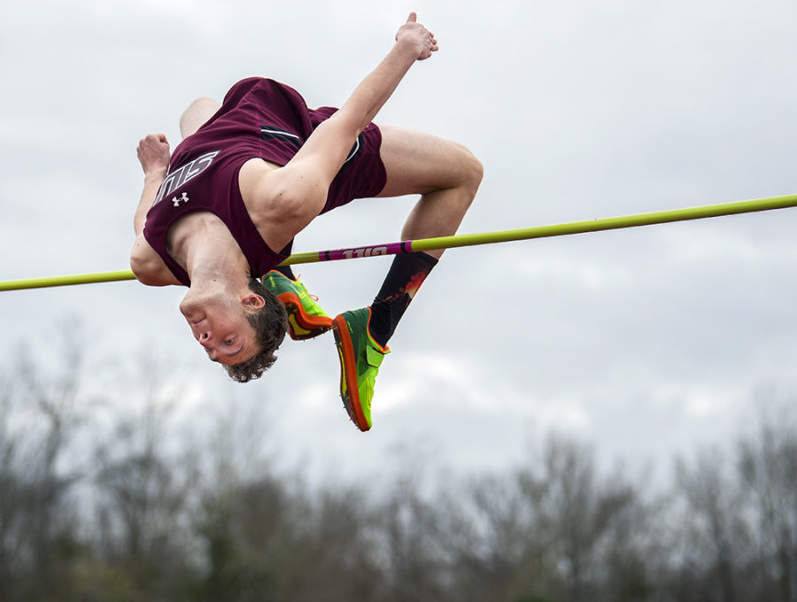 Junior jumper Austin Weigle clears the bar Saturday, March 25, 2017, during the men's high jump finals at the Bill Cornell Classic in Carbondale. Weigle placed third with his highest jump of 1.94 meters. (Morgan Timms | @Morgan_Timms)