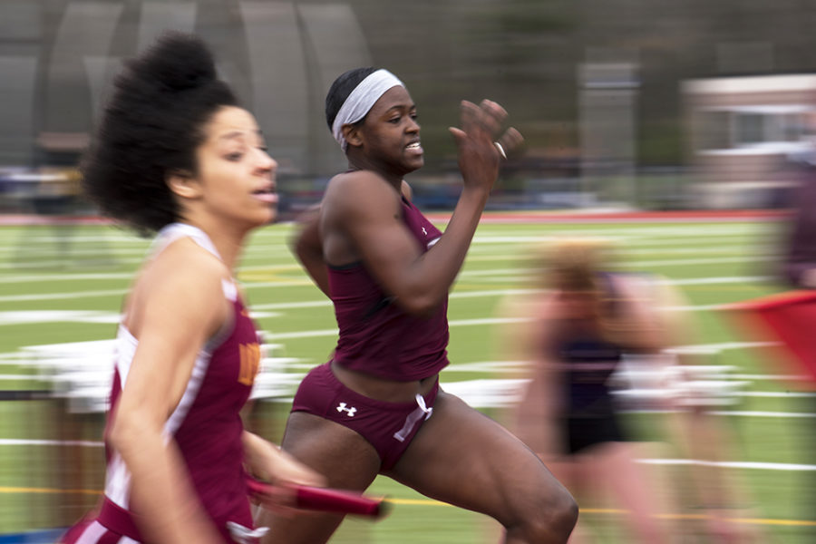 Freshman sprinter Shafiqua Maloney races in the 4x100-meter relay Saturday, March 25, 2017, during the Bill Cornell Classic in Carbondale. The Salukis won the women's relay by about two seconds. (Morgan Timms | @Morgan_Timms)