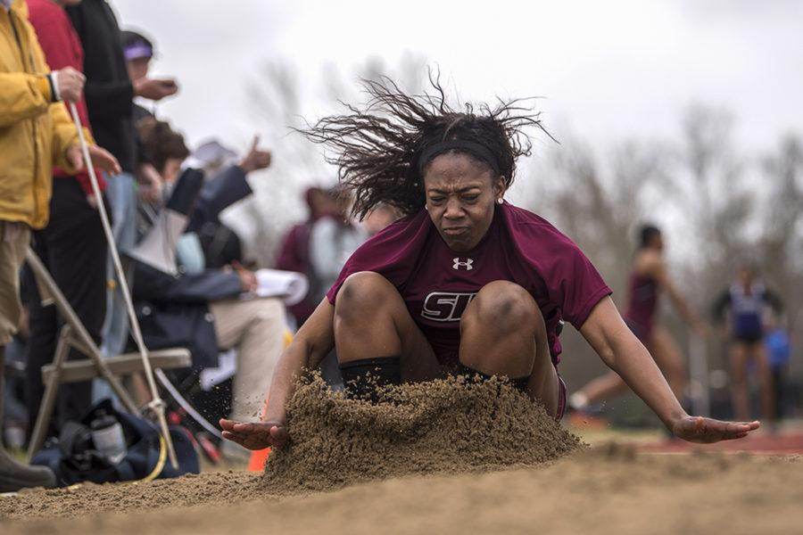 Freshman jumper Emani James lands in the sand Saturday, March 25, 2017, during the long jump finals at the Bill Cornell Classic in Carbondale. James placed ninth overall with her longest jump of 5.20 meters. (Morgan Timms | @Morgan_Timms)