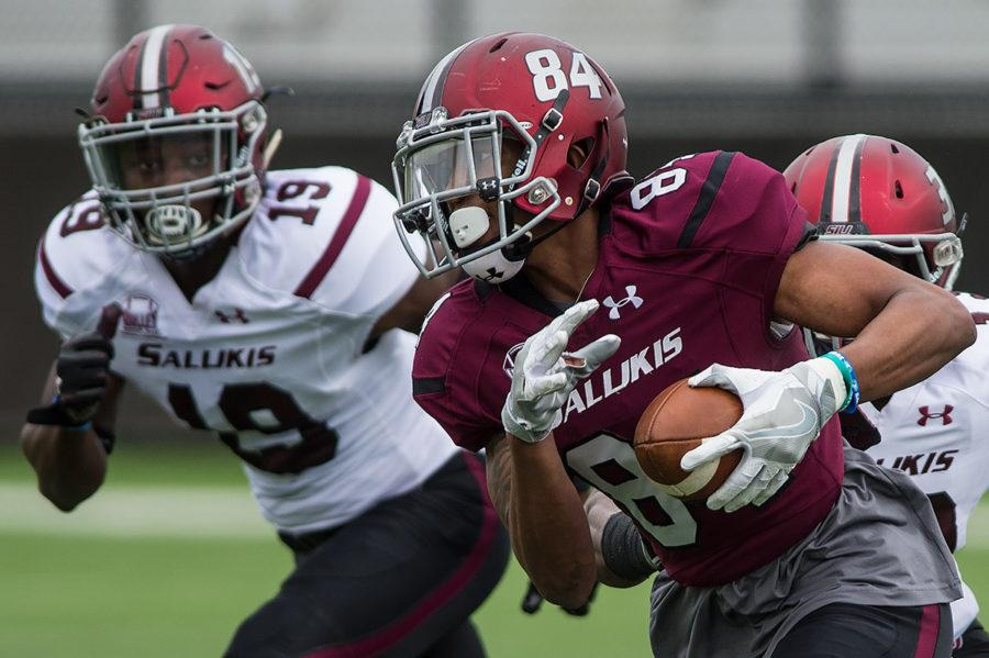 Sophomore wide receiver Landon Lenoir takes the ball down the field while redshirt freshman safety Quá Brown (19) pursues during SIU football's first spring scrimmage of the season on Sunday, March 26, 2017, at Saluki Stadium. (Jacob Wiegand | @jawiegandphoto)