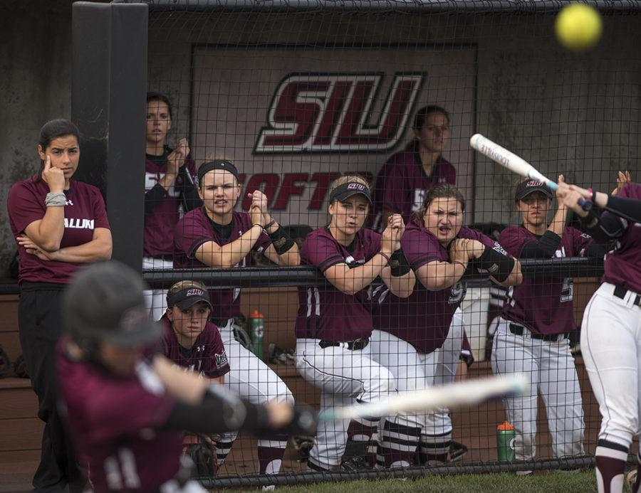 Salukis react as junior utility Savannah Fisher fouls off a pitch Wednesday, March 29, 2017, during the Salukis' 4-0 loss to SIUE at Charlotte West Stadium. (Morgan Timms | @Morgan_Timms)