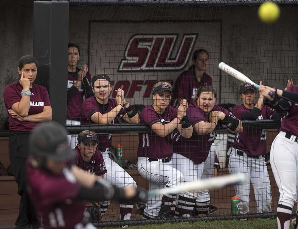 Salukis react as junior utility Savannah Fisher fouls off a pitch Wednesday, March 29, 2017, during the Salukis' 4-0 loss to SIUE at Charlotte West Stadium. (Morgan Timms   @Morgan_Timms)