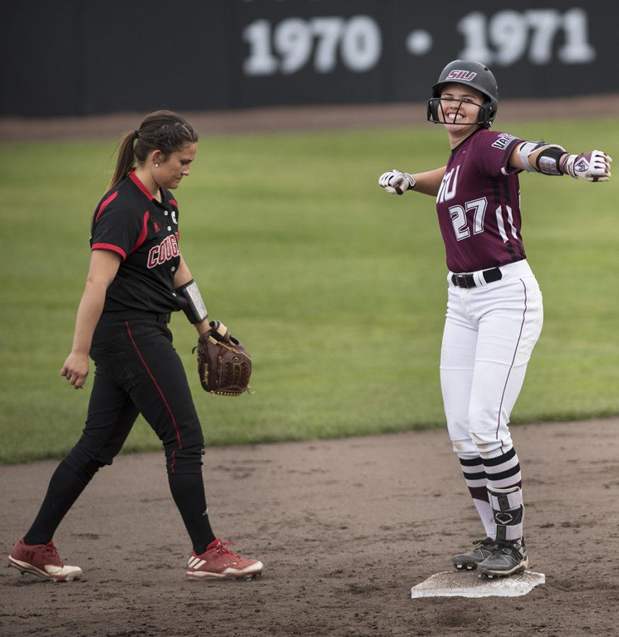 Freshman infielder Maddy Vermejan celebrates after hitting a double Wednesday, March 29, 2017, during the Salukis' 4-0 loss to SIUE at Charlotte West Stadium. (Morgan Timms | @Morgan_Timms)