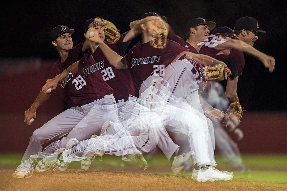 Senior pitcher Chad Whitmer throws from the mound during SIU's 3-2 win against the Evansville Purple Aces on Friday, March 31, 2017, at Itchy Jones Stadium. This image was created using a multiple exposure technique. (Jacob Wiegand | @jawiegandphoto)