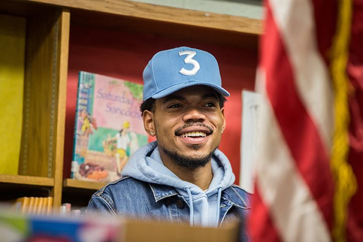 Chance the Rapper holds a press conference at Westcott Elementary School in Chicago's Chatham neighborhood on March 6, 2017. (Zbigniew Bzdak/Chicago Tribune/TNS)