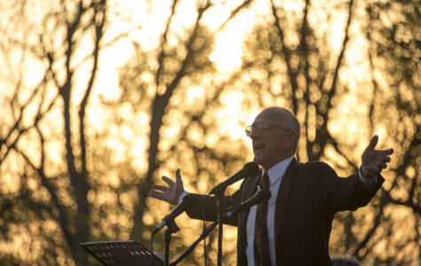 Rev. Ed Hoke leads a prayer Sunday, April 16, 2017, during the Easter sunrise service at Bald Knob Cross of Peace in Alto Pass. Hoke is the minister of Mission Expansion at Little Grassy United Methodist Camp in Makanda. (Branda Mitchell | @branda_mitchell)