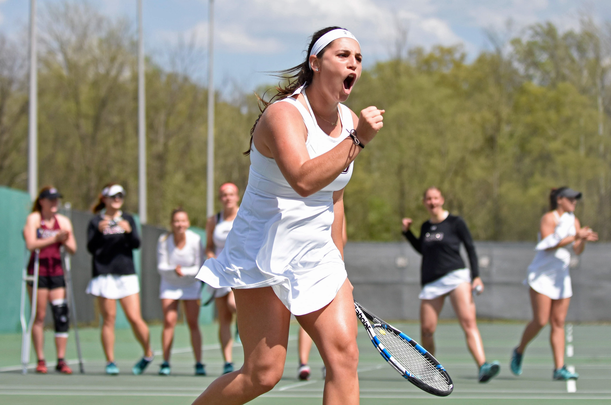 Junior+Vitoria+Beirao+celebrates+after+winning+a+point+during+her+singles+match+on+Saturday%2C+April+15%2C+2017%2C+against+Missouri+State+at+the+University+Courts.+She+won+the+match+6-4%2C+6-4.+The+Salukis+beat+the+Bears+6-1.+%28Anna+Spoerre+%7C+%40annaspoerre%29%0A