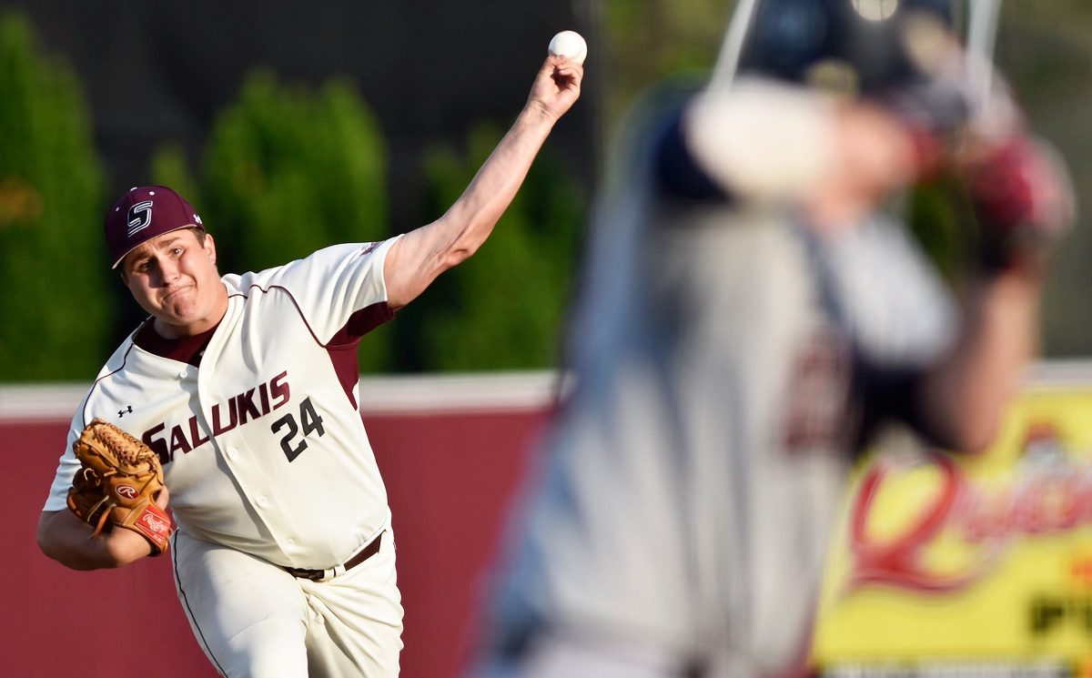 Sophomore pitcher Mitch Townsend throws from the mound during the Salukis' 9-3 loss to Belmont on Tuesday, April 18, 2017, at Itchy Jones Stadium. (William Cooley | @Wcooley)