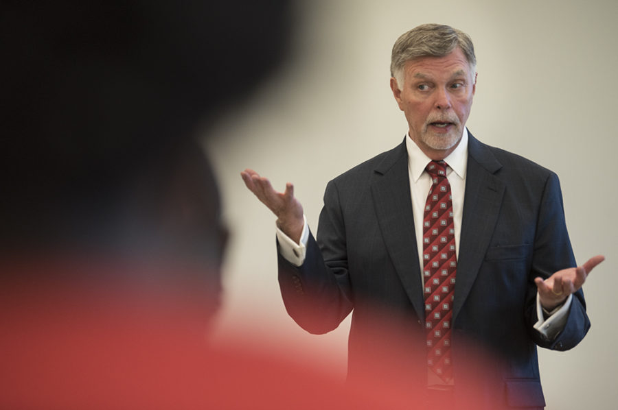 Chancellor candidate George Hynd addresses students Wednesday, April 19, 2017, during an open forum in the Student Services Building. (Morgan Timms | @Morgan_Timms)
