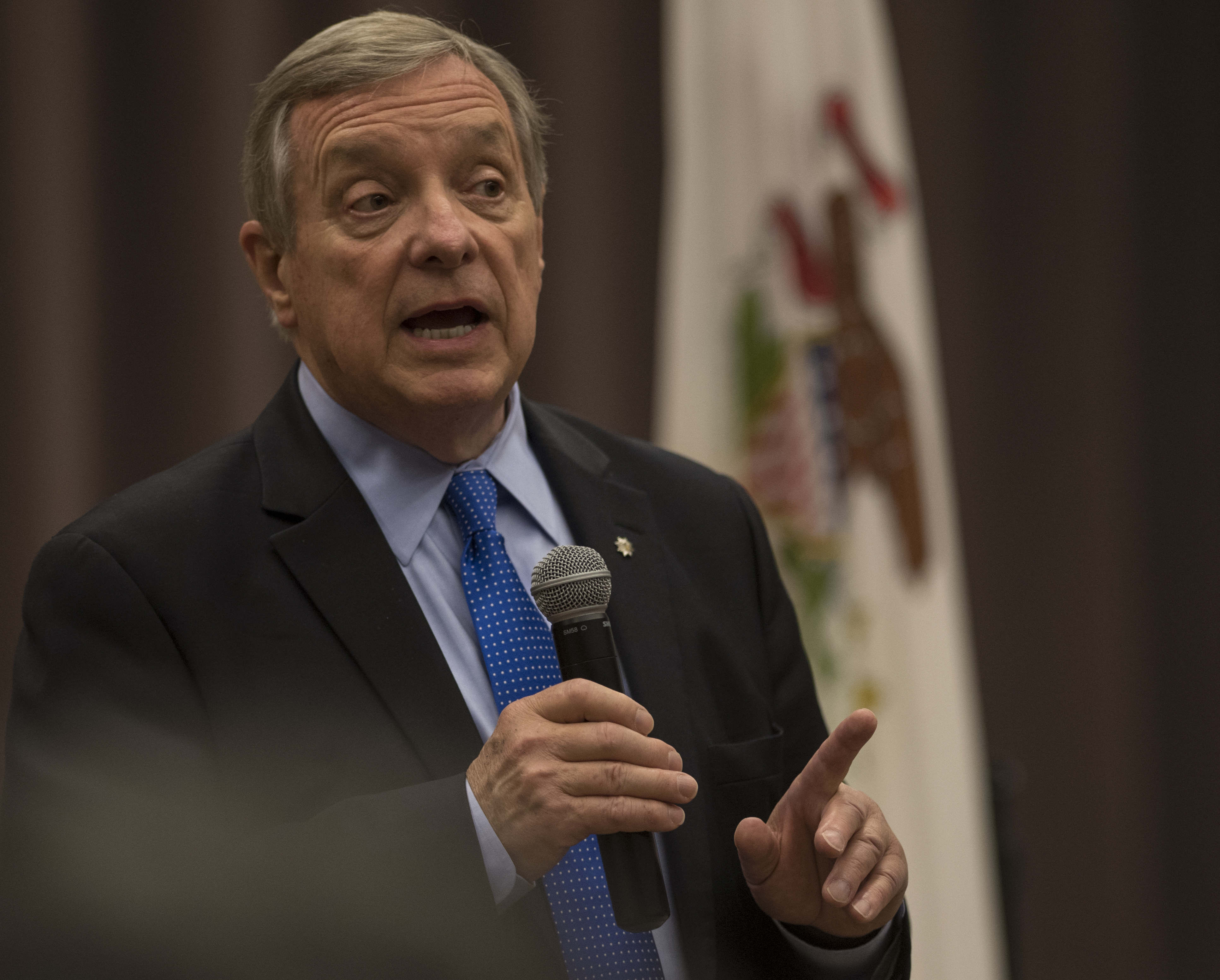 Sen. Dick Durbin answers a question Friday, April 21, 2017, during a town hall meeting in the university's Lesar Law Building. About 140 people came to hear the senator discuss national, regional and state issues. (Bill Lukitsch | @lukitsbill)