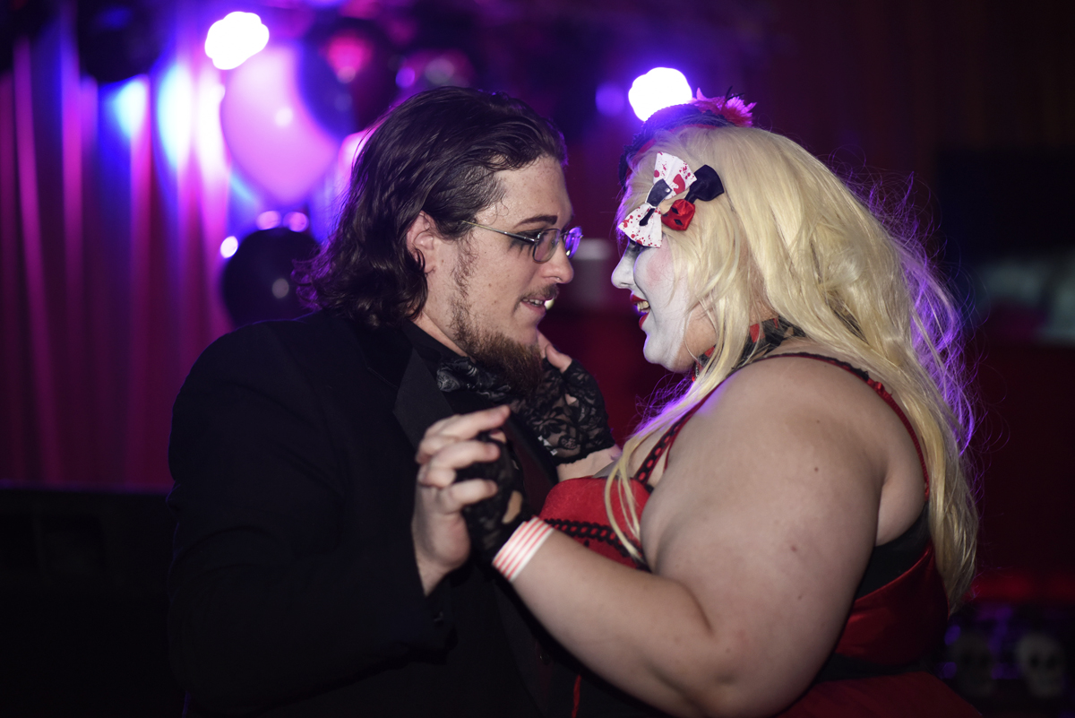 "Patrick ""Frost"" Scott slow dances with Alistair Wiley, both of Carbondale, at the Oblivion VI: Gothic Prom on Thursday, April 20, 2017, at The Hangar 9 in Carbondale. (William Cooley 