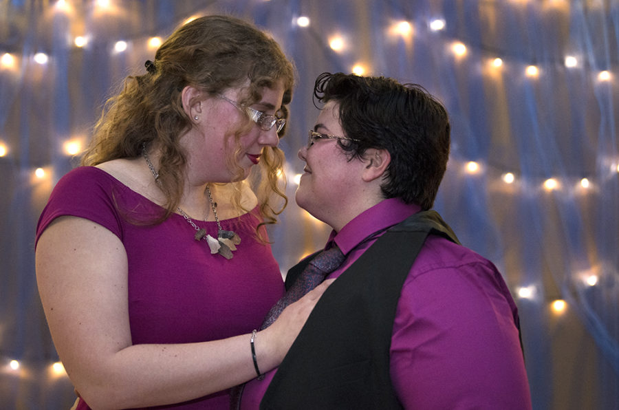 Victoria Hammond, a senior from Columbus, Ohio, studying geology and her fiancee, Yahaira Heller, a graduate student in public administration from Adjuntas, Puerto Rico, pose for a portrait Saturday, April 22, 2017, during the SIU LGBTQ Resource Center's third annual Pride Prom at Grinnell Hall in Carbondale. In 2015, Heller, former president of the Latino Cultural Association, suggested the idea of a pride prom to the then-director of SIU's LGBTQ Resource Center in celebration of LGBTQ awareness week.