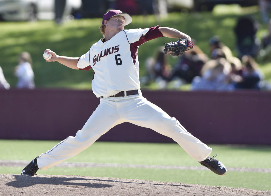 Senior pitcher Ryan Netemeyer throws from the mound during SIU's 13-8 win against Tennessee Tech on Sunday, April 23, 2017, at Itchy Jones Stadium. (Daily Egyptian File Photo)
