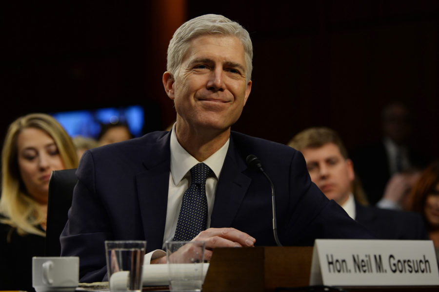 Judge Neil Gorsuch goes through his confirmation hearing by the Senate Judiciary Committee to see if he will be the next U.S. Supreme Court Justice on March 22, 2017 in Washington, D.C. (Christy Bowe/Globe Photos/Zuma Press/TNS)