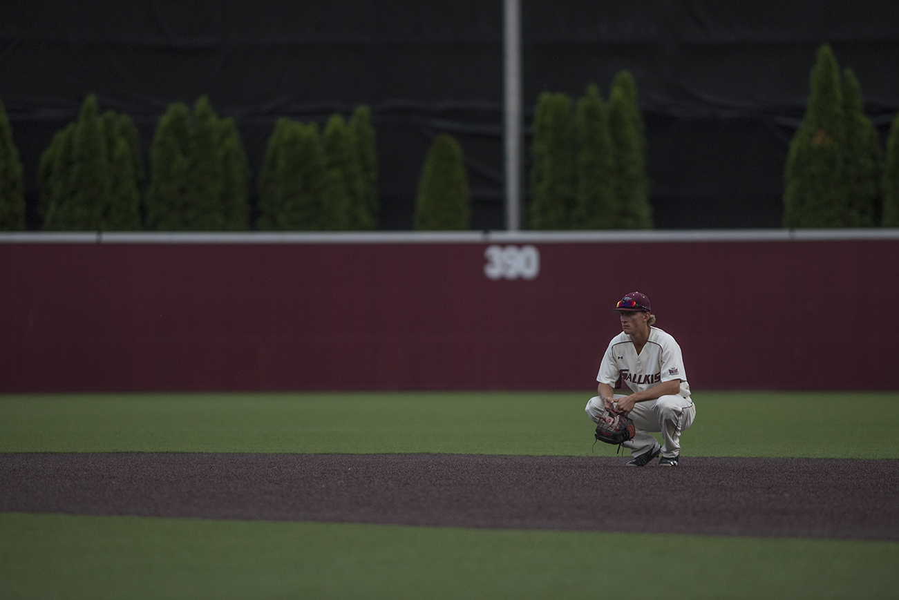 Junior infielder Connor Kopach waits for the stadium lights to come back on after they went out in the bottom of the fourth inning during the Salukis' 6-5 loss to the University of Illinois on Tuesday, May 2, 2017, at Itchy Jones Stadium. (Branda Mitchell | @branda_mitchell)