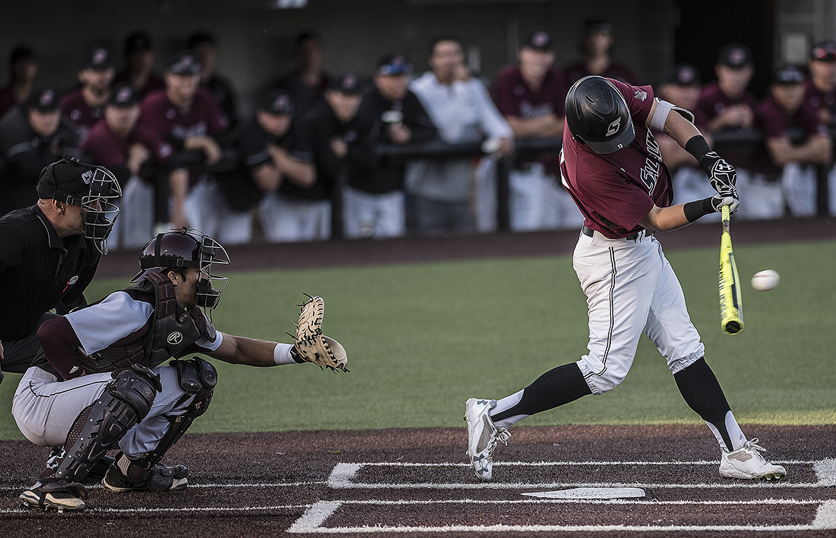 Saluki senior outfielder Ryan Smith hits the ball, bringing in the first Saluki run of the game Friday, May 5, 2017, during the Salukis' 7-5 loss to Missouri State at Itchy Jones Stadium. (William Cooley | @Wcooley1980)