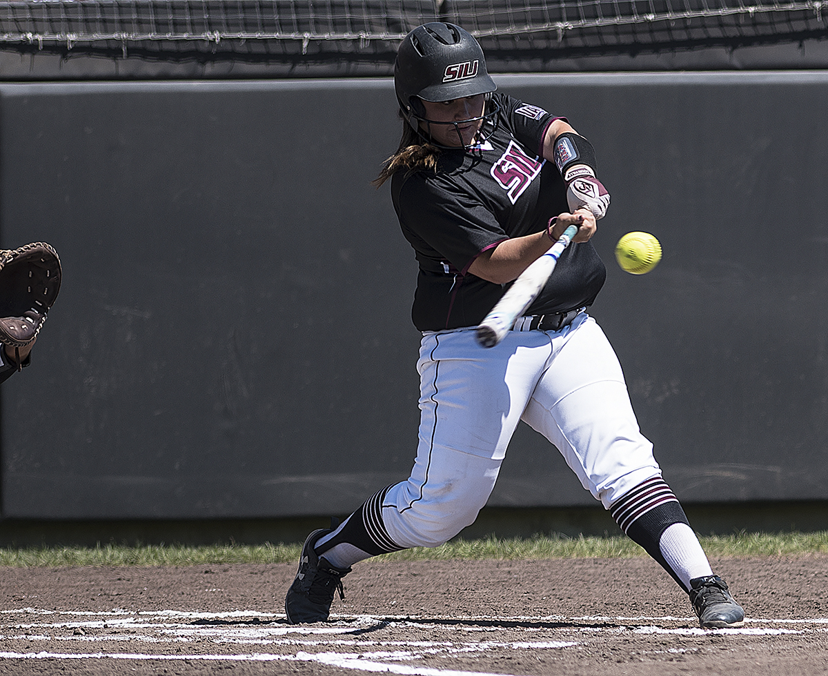 Freshman catcher and designated player Katelyn Massa hits the ball into the outfield Sunday, May 7, 2017, during the Salukis' 3-2 win against Missouri State at Charlotte West Stadium.  (William Cooley | @Wcooley1980)