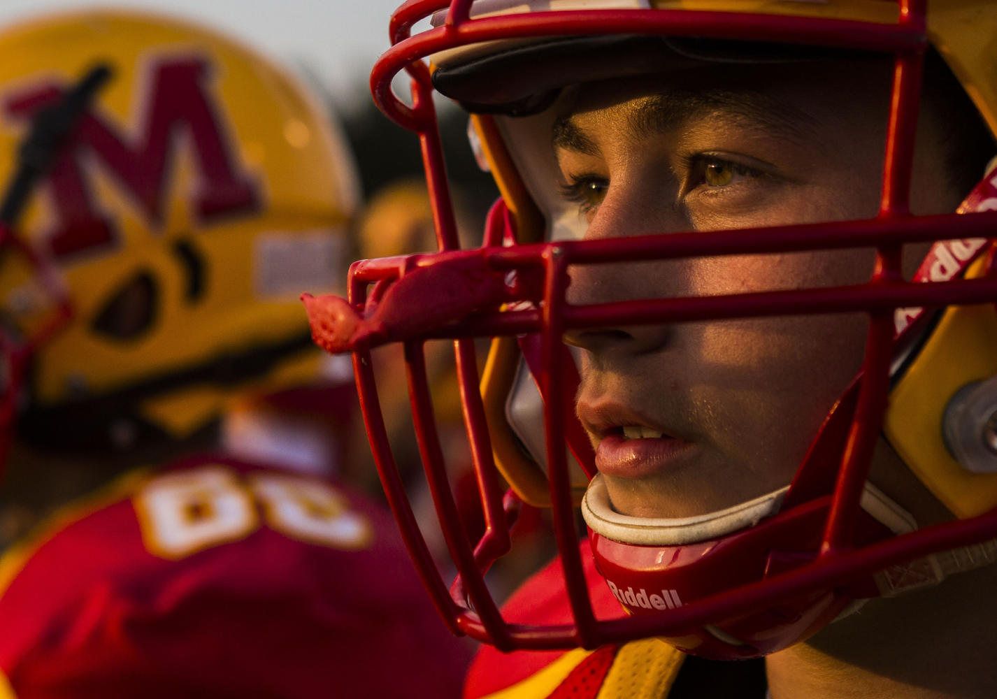 Murphysboro linebacker Michael Shearer looks onto the field during the 100th meeting between the Murphysboro Red Devils and the Carbondale Terriers on Friday, Aug. 25, 2017, at
