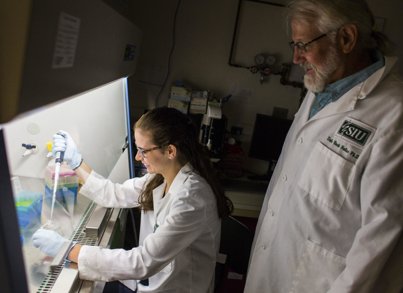 "Senior physiology major Kara Starkweather, left, prepares to split some cells under the supervision of Professor of Physiology Dr. Buck Hales in a Life Sciences II lab Friday, Aug. 25, 2017, in Carbondale. The duo is using hens, which ovulate similarly to women, to research flaxseed as a dietary intervention in preventing ovarian cancer. ""We understand that the major cause of ovarian cancer is the inflammation associated with ovulation,"" said Hales. ""Our goal is to turn ovarian cancer into a disease that women can live with instead of die from."" (Ryan Michalesko 