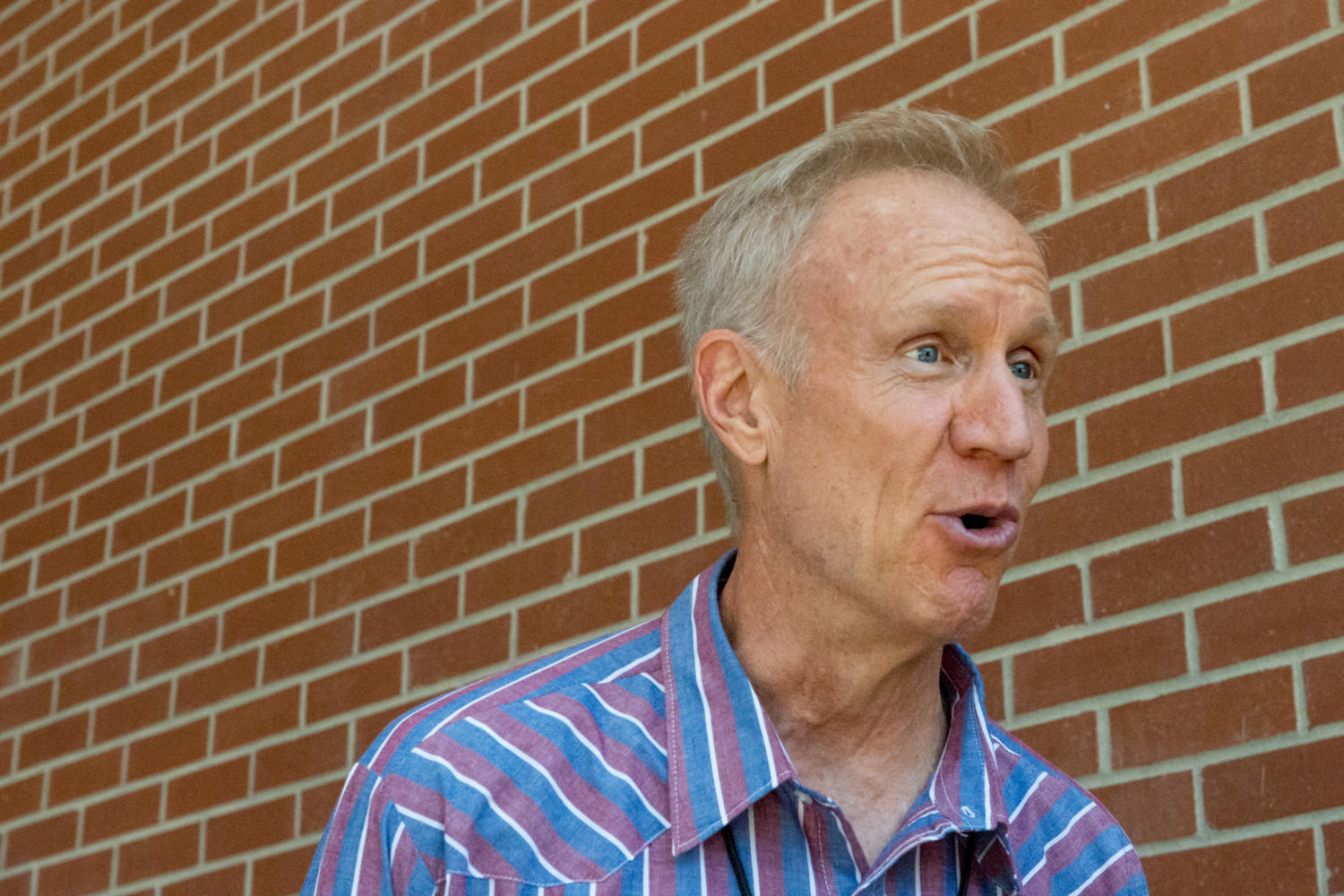Governer of Illinois Bruce Rauner speaks to media after watching the total solar eclipse, Monday, Aug. 21, 2017, at SIU Arena in Carbondale. (Brian Muñoz | @BrianMMunoz)