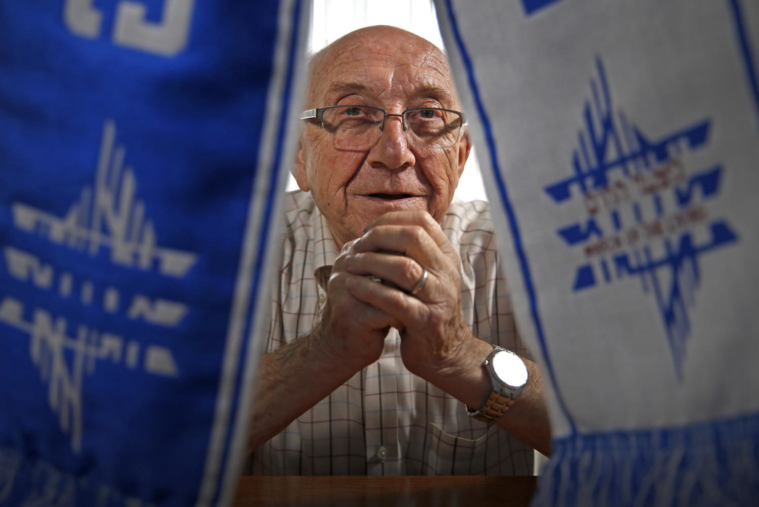 Max Glauben, a Holocaust survivor, with a