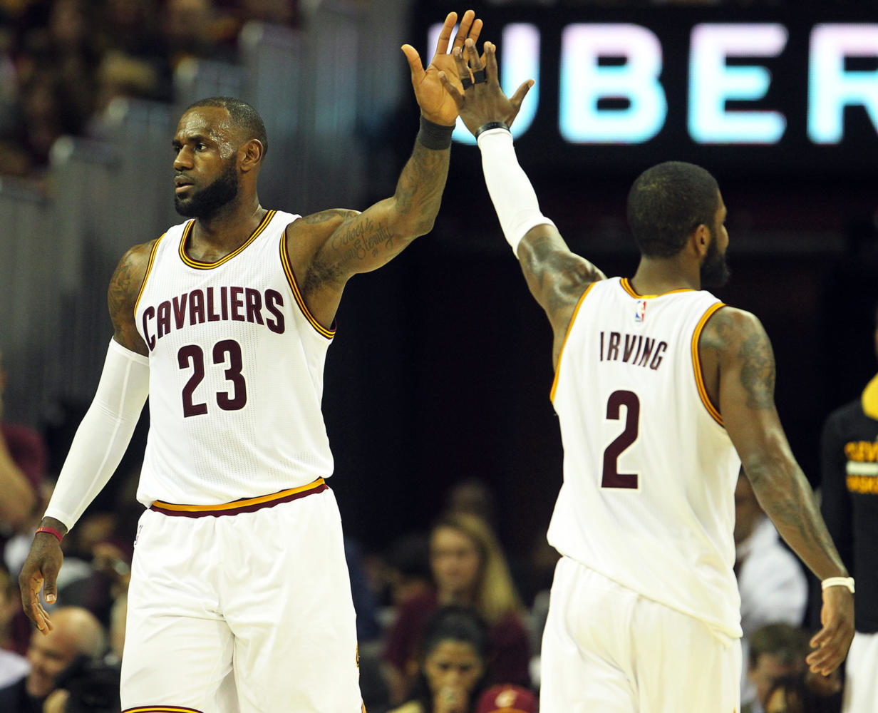 Cleveland Cavaliers forward LeBron James celebrates a foul with Kyrie Irving during the third quarter against the Boston Celtics in Game 4 of the Eastern Conference finals on Tuesday, May 23, 2017 at Quicken Loans Arena in Cleveland, Ohio. (Leah Klafczynski/Akron Beacon Journal/TNS)