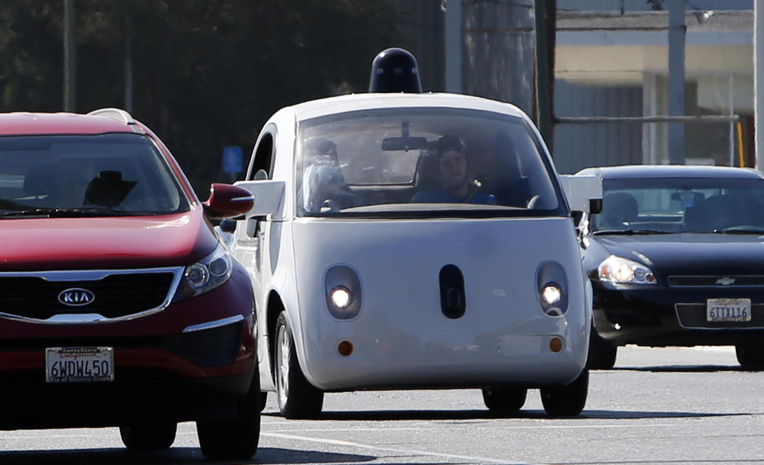 A Google self-driving car travels eastbound on San Antonio Road in Mountain View, Calif., in an October 2015 file image. (Karl Mondon/Bay Area News Group/TNS)