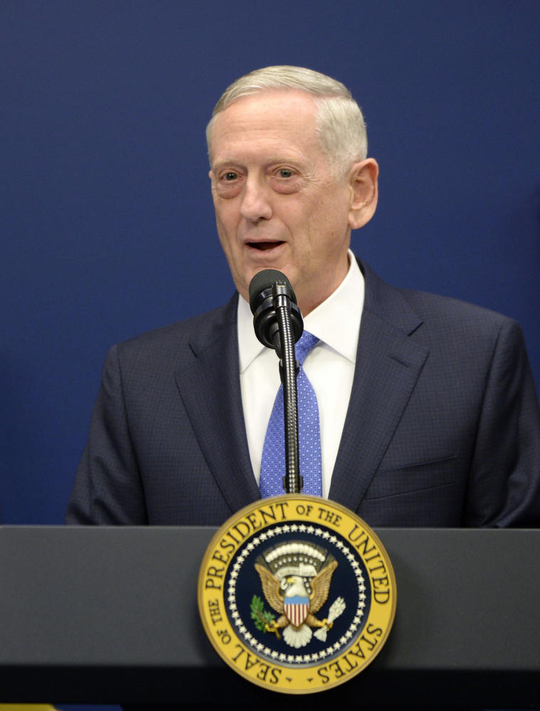 Secretary of Defense James Mattis speaks in the Hall of Heroes at the Department of Defense Friday, Jan. 27, 2017 in Arlington, Va. Mattis said Monday that if North Korea carried out its threat to launch missiles toward Guam, it could escalate to war. (Olivier Douliery/Abaca Press/TNS)